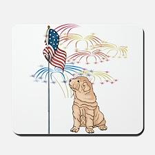 USA Flag Shar-Pei Mousepad
