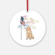 USA Flag Shar-Pei Ornament (Round)