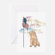 USA Flag Shar-Pei Greeting Card