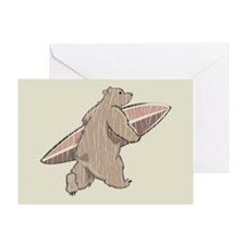 Surfing Brown Bear Greeting Card