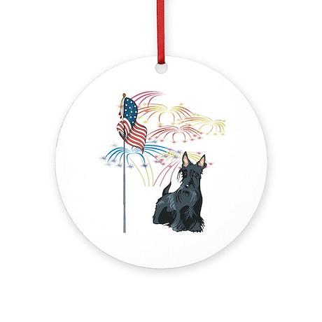 USA Flag Scottie Ornament (Round)