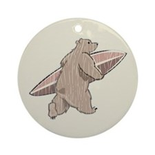 Surfing Brown Bear Ornament (Round)