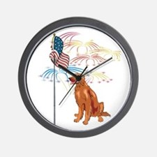 USA Flag Irish Setter Wall Clock