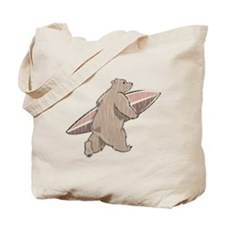 Surfing Brown Bear Tote Bag