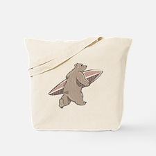 Surfing Brown Bear Tote Bag