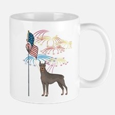 USA Flag Doberman Mug