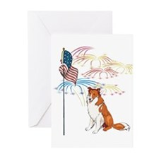 USA Flag Collie Greeting Cards (Pk of 10)
