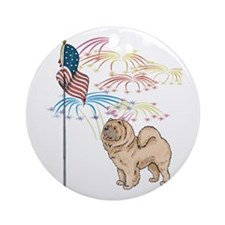 USA Flag Chow Chow Ornament (Round)