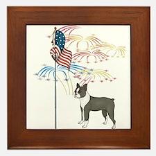 USA Flag Boston Terrier Framed Tile