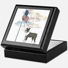 USA Flag Boston Terrier Keepsake Box