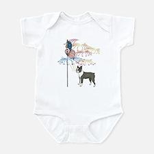 USA Flag Boston Terrier Infant Bodysuit