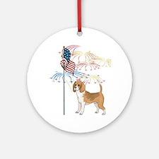 USA Flag Beagle Ornament (Round)