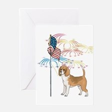 USA Flag Beagle Greeting Card