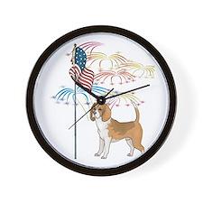 USA Flag Beagle Wall Clock