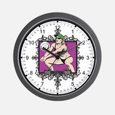 Aggressive Women's Volleyball Wall Clock