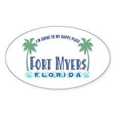 Ft. Myers Happy Place - Oval Decal