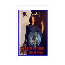 Earth Citizen HAND SIGN Rectangle Decal