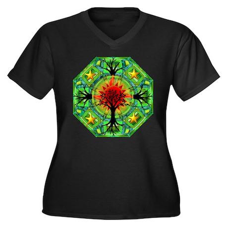 Mother Earth Women's Plus Size V-Neck Dark T-Shirt