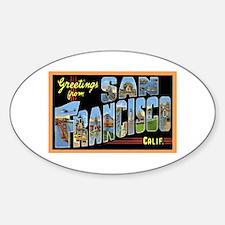 San Francisco California Gree Oval Sticker (10 pk)
