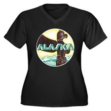 Alaska Totem Pole Women's Plus Size V-Neck Dark T-