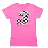 Auto racing number 3 Girls Tees