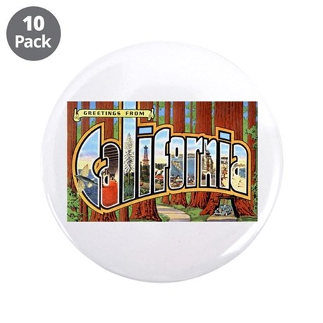 """California Greetings 3.5"""" Button (10 pack)"""