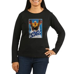 Ski Skiing Women's Long Sleeve Dark T-Shirt