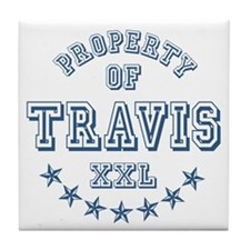 Property of Travis Personalized Tile Coaster