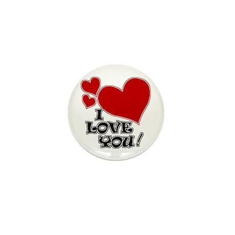 I Love You Hearts Mini Button