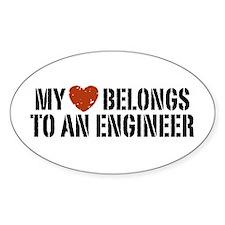 My Heart Belongs to an Engineer Oval Decal