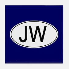 JW Euro Oval blue Tile Coaster