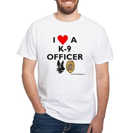 """""""I Love A K-9 Officer"""" White T-Shirt"""