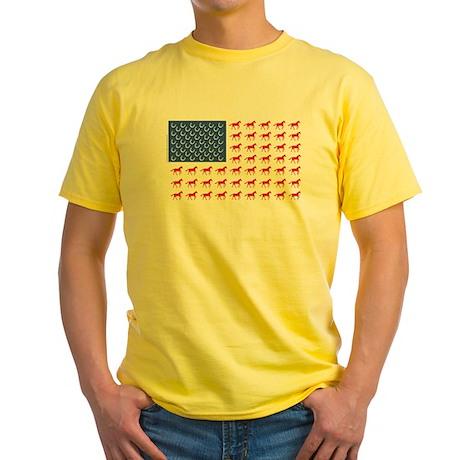 Original Patriotic Horse Flag Yellow T-Shirt