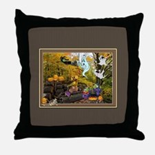Witches Ghosts Pumpkins Throw Pillow