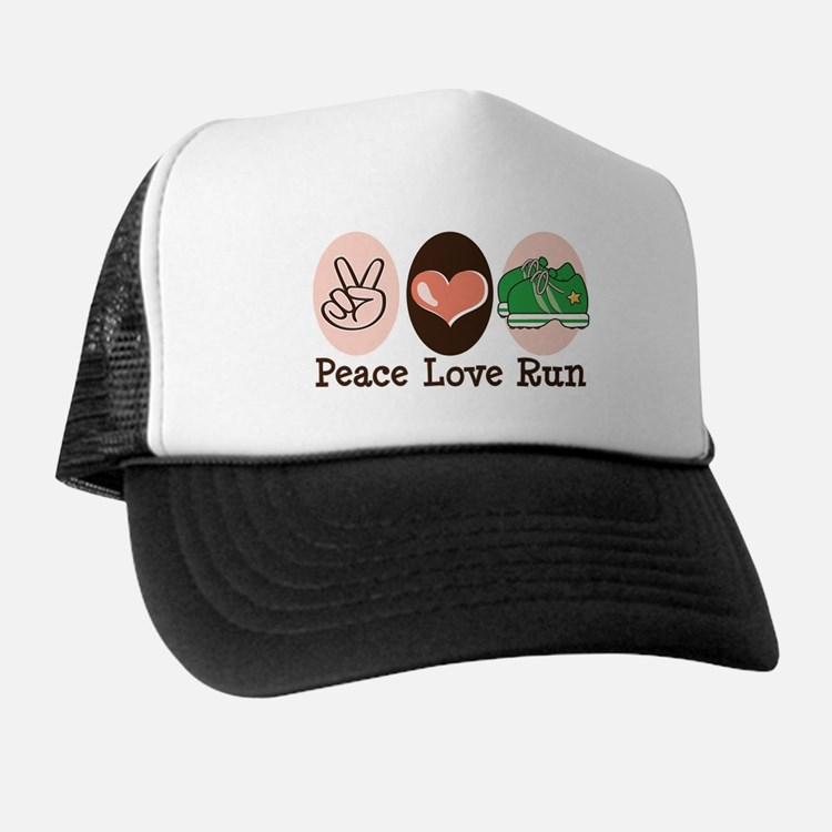 Peace Love Run Runner Trucker Hat
