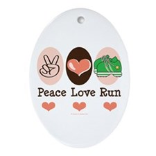 Peace Love Run Runner Oval Ornament