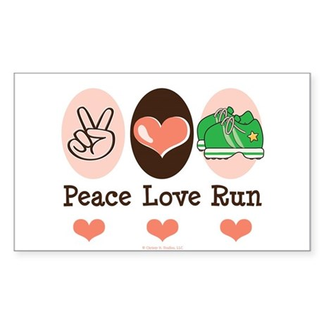 Peace Love Run Runner Rectangle Sticker
