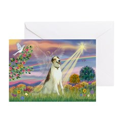 Cloud Angel & Borzoi Greeting Cards (Pk of 10)