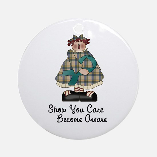 Country Girl Awareness TEAL 2 Ornament (Round)