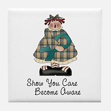Country Girl Awareness TEAL 2 Tile Coaster
