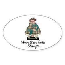Country Girl Hope TEAL 1 Oval Decal
