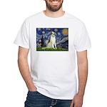 Starry Night & Borzoi White T-Shirt