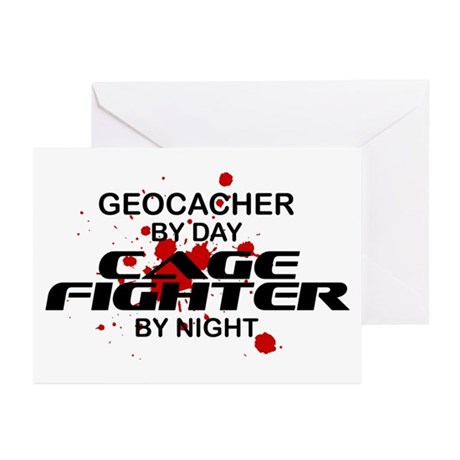 Geocacher Cage Fighter by Night Greeting Cards (Pk