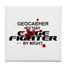 Geocacher Cage Fighter by Night Tile Coaster
