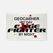 Geocacher Cage Fighter by Night Rectangle Magnet