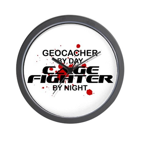 Geocacher Cage Fighter by Night Wall Clock