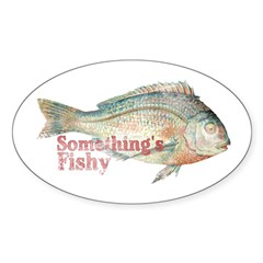 Vintage Something's Fishy Oval Decal