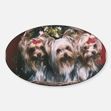 Yorkie Holiday Stickers (Oval)