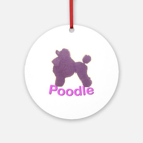 Purple Poodle Ornament (Round)