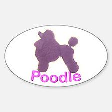 Purple Poodle Oval Bumper Stickers